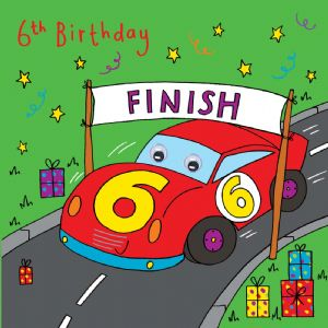 Racing Car Birthday Card - age 6